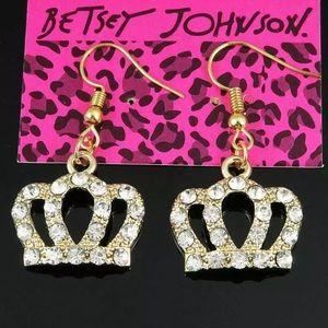 Betsey Johnson Crown Earrings